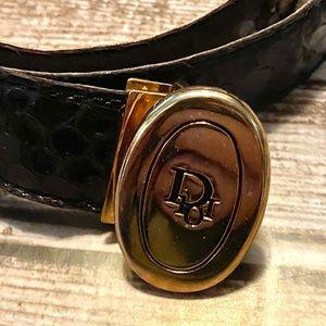 Vintage Dior leather snake skin black belt